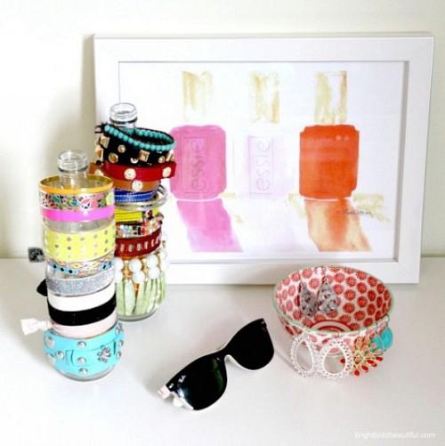 Old bottles turned bracelet holders by Laura Trevey at Hometalk.